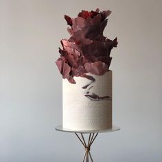 Sometimes the stone blooms Impressed in the white is the bride's favorite sheet music. Concrete Cake, Geometric Cake, Bolo Cake, Watercolor Cake, Beautiful Wedding Cakes, Wedding Cake Designs, Pretty Cakes, Cake Art, Food Art