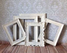 WHITE Vintage Style PICTURE FRAMES shabby chic by VintageEvents