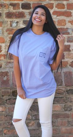 Authentic Tee in Lilac Lakeside Cotton, Marley Lilly, Southern Marsh, Monogram Gifts, Jewelry Gifts, Lilac, Tees, Unique, Clothes