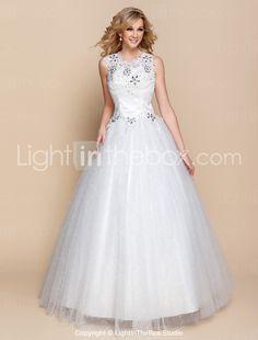 Ball Gown Scoop Floor-length Organza Wedding Dress(944184) - USD $ 89.99
