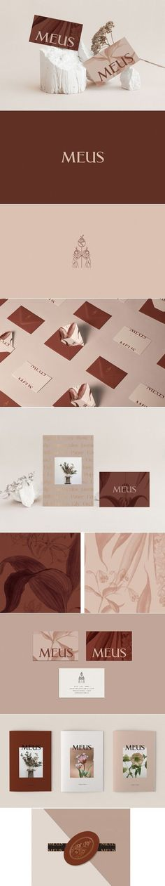 Meus Floral Studio brand identity by Kati Forner Brand Identity Design, Graphic Design Branding, Stationery Design, Corporate Design, Corporate Branding, Logo Inspiration, Graphisches Design, Creative Design, Branding Agency