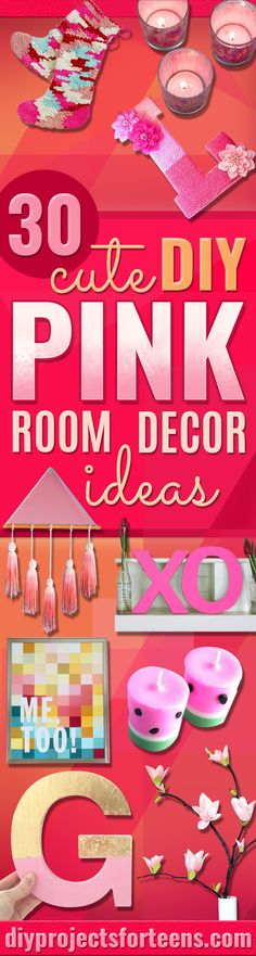 31 Pink DIY Room Decor Ideas - Cool Pink Bedroom Crafts and Projects for Teens, Girls, Teenagers and Adults - Best Wall Art Ideas, Room Decorating Project Tutorials, Rugs, Lighting and Lamps, Bed Decor and Pillows http://diyprojectsforteens.com/diy-bedroom-ideas-pink