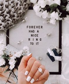 """Letter board engagement announcement. """"Forever has a nice ring to it"""". // 25 incredibly creative ring photos to announce your engagement on social media. // mysweetengagement.com // #engagement #engaged #engagementannouncement #isaidyes #shesaidyes #engagementrings"""