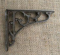 Antique-Cast-Iron-Wall-Shelf-Bracket-Traditional-Victorian-Design-x1