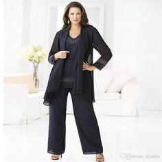 3073f2f774c Plus Size Cheap Navy Blue Mother Of The Bride Pant Suits Elegant Chiffon  Pant Suit 2018 Groom Mother Wedding Outfits Dress Mathar Son Mother Of The  Groom ...