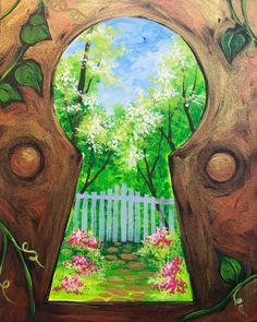 Secret Garden Art Desenhos Fixes Pinturas Desenhos Simple Acrylic Paintings, Easy Acrylic Paintings, Acrylic Painting Inspiration, Acrylic Painting Flowers, Paint And Sip, Art Plastique, Painting & Drawing, Garden Painting, Trippy Painting