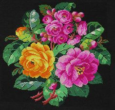 ANTIQUE VICTORIAN BERLIN WOOLWORK EMBROIDERY CUSHION / PILLOW COVER c 1860   eBay