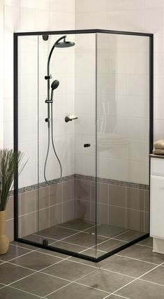 Windsor 6mm black semi frameless shower screen