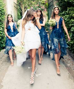 Bridesmaids in tiered, sea-blue Pucci by Peter Dundas and the bride in custom Peter Dundas gown and lace-up Aquazzura heels | Erica Pelosini & Louis Leeman Get Married
