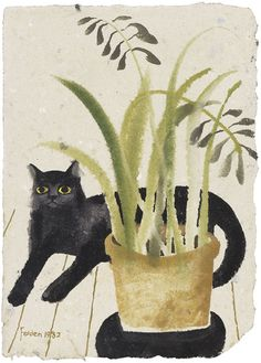 Black Cat and Plant by Mary Fedden, 1982