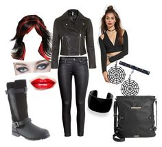 """Edith Goes Rocker Chick for Halloween"" by bearpawstyle on Polyvore featuring H&M, Forever 21, Topshop and Rampage"