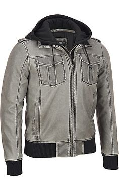 Black Rivet Patch Pocket Faux-Leather Jacket w/ Sherpa - #WilsonsLeather