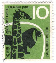 """Germany postage stamp: zoo  c. 1958  100 Jahre Zoologischer Garten Frankfurt""""  Designed by A. & G. Haller?"""