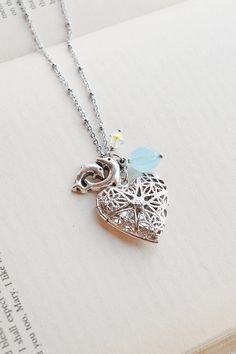 Dolphins Locket Necklace,Locket Jewelry,Sea Life Jewelry,Dolphin Necklace,Heart Locket,Heart Jewelry,Sorority Necklace,Dolphin Charm,Fish