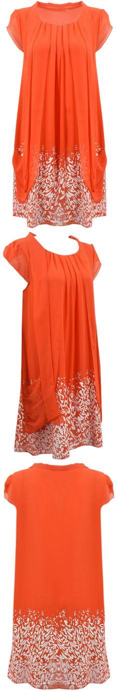 Azbro's Female-chic Cap Sleeve Chiffon Dress