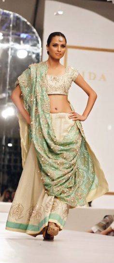 Nida Azwer :: ivory and pistachio green with silver and golden embroidery