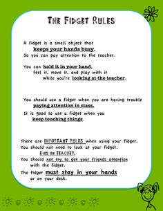 Rules for using a fidget at school man v #autism