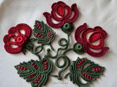 Irish crochet color aplicación Decor chaqueta Marsala estilo