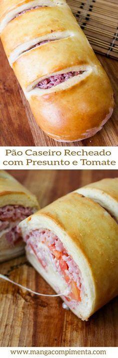 Pao caseiro recheado Bread Recipes, New Recipes, Favorite Recipes, Cake Recipes, I Love Food, Good Food, Yummy Food, Food Truck, Pan Relleno