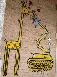 """Giraffe Love"" Woodstock, Cape Town. Street art. Woodstock, Cape Town, Bart Simpson, South Africa, Giraffe, Graffiti, Street Art, Cool Stuff, Fictional Characters"