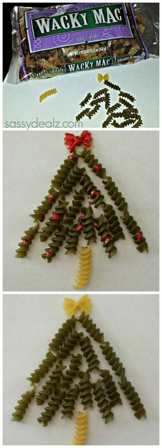 Noodle Christmas Tree Craft For Kids Homemade Card Idea DIY Christmas art project