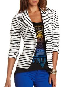 Striped Ruched Sleeve Blazer: Charlotte Russe