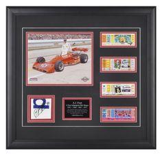 A.J. Foyt Autographed Picture - 4 Time Indianapolis 500 Winner Framed 8x10 Replica Tickets Carbon Fiber L E of 114 - Mounted Memories Certified by Sports Memorabilia. $125.25. This collectible includes an 8x10 photograph, descriptive plate and replica ticket from each year of A.J.s four victories -1961-1964-1967-and 1977. This item also features a piece of race-used carbon fiber from A.J. Foyt Racing personally signed by A.J. Foyt. overall dimensions 23.5x21.5. Limited Edit...