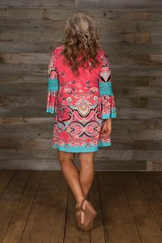 Curvy| Valerie Dress - Fuchsia/Teal