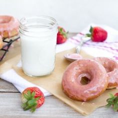 Whole Grain Strawberry Baked Donuts