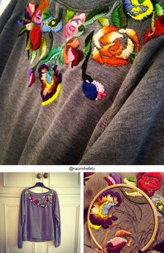Embroidered old sweat shirt. Dare to DIY: IGers Who Dare to DIY: 30 ideas instagrámicas con factor WOW! Diy Embroidery, Cross Stitch Embroidery, Embroidery Patterns, Fashion Bubbles, Diy Broderie, Diy Vetement, Diy Clothing, Clothing Labels, Refashion