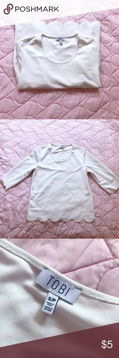 "Scalloped Hem Top 🌻very pretty cream top 🌻pre-loved; has some snags and spots that can be only be seen in certain lighting (holding shirt up to light)  🌻approx: length 20.5"", bust 32""  🌻not too stretchy Tobi Tops"