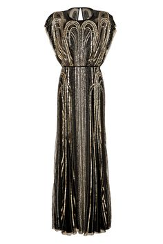 Make a dramatic entrance in this opulent Jazz Age-inspired sequin dress from Jenny Packham.
