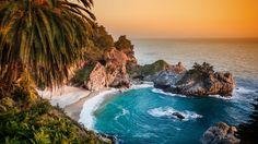 Pacific Ocean, big sur, california, beach, mcway falls, sunset