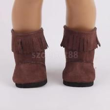 Brown Tassel Shoes Boots Back Zip for 18
