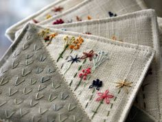quilted embroidered coasters