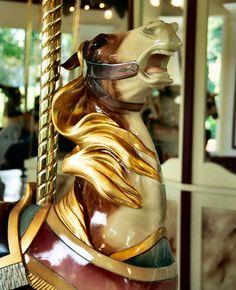 brown pinto carousel horse