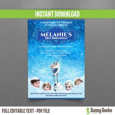 Disney Frozen Birthday Invitation - Instant Download by SunnyGeckoDesign, $10.00