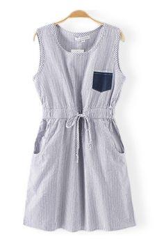Sweet Vertical Stripe Cotton #Dress