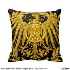 Vintage German Empire Eagle, gold on black Throw Pillows