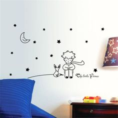 Cheap sticker for kids room, Buy Quality wall stickers for kids directly from China wall sticker Suppliers: Stars Moon The Little Prince Boy Wall Sticker for kids room Home Decor Wall Decals DIY poster vinilos paredes quality first Wall Stickers Paris, Boys Wall Stickers, Wall Stickers Quotes, Wall Stickers Murals, Sticker Mural, Chalkboard Stickers, Floor Stickers, Sticker Vinyl, Decoration Stickers