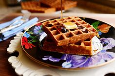 When so many good things converge: Mackenzie-Childs, The Pioneer Woman's recipe, and waffes. WANT. ALL. :)