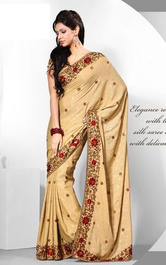 gold saree w/red flowers