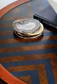 Gold Rimmed Agate Coasters - the Hunted Interior