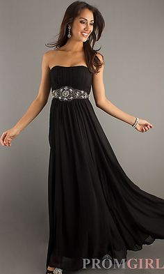 Classic Long Strapless Dress at PromGirl.com  buuut purple