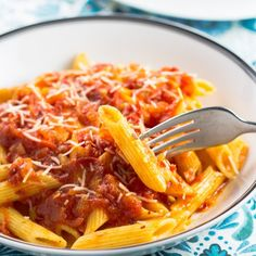 Penne tossed in a spicy tomato sauce with a little guanciale thrown in for good measure!