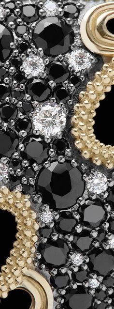 Close-up of the Nightfall design with black spinel, pavé diamonds and 18k gold. LAGOS Jewelry