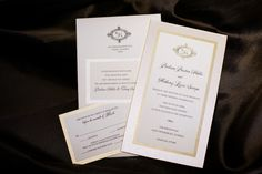 Ivory and Gold Wedding Invitation Suite with Monogram on Ivory Linen with Black Text | Downtown St. Petersburg Wedding Photographer Limelight Photography