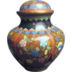 Small Japanese Cloisonne Lidded Jar Missing Finial on Lid from Something Wonderful on Ruby Lane