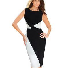 Купить товарНовая женская лето Colorblock лоскутная черный белый о шеи рукавов носить на работу бизнес Bodycon карандаш платье B65 в категории Платьяна AliExpress.                                                                                                         Характеристика