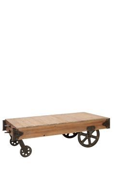 Wood rolling cart coffee table